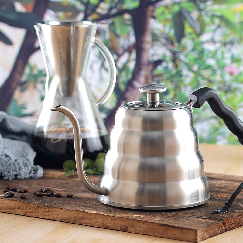 Stainless Steel 40 oz Gooseneck + Pour Over Coffee Kettle Blue Brew Carafe