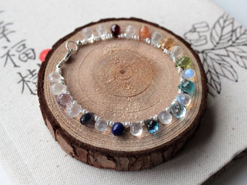 Journal rainbow rain / Natural Moonstone, Sunstone, Topaz etc .. colored stones Silver Bracelet