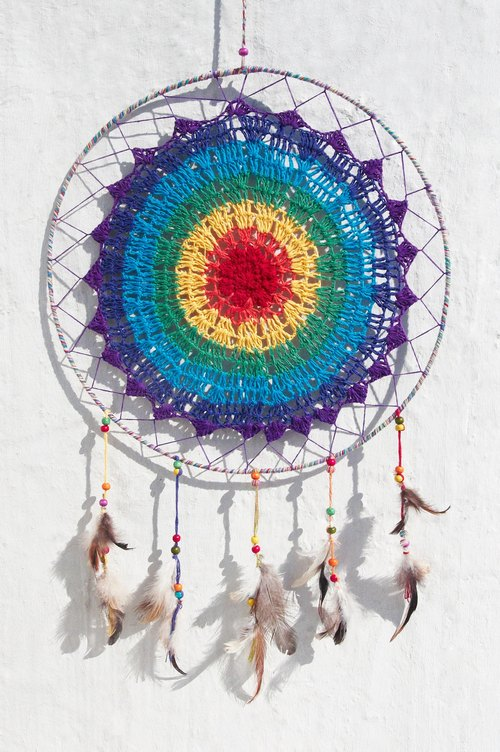 Super limited edition hand-woven cotton rainbow colors Dreamcatcher Charm - boho style lace dyed bright color line segment 39.5 cm (oversized)