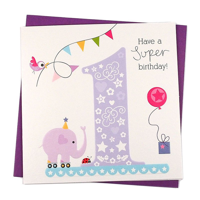 Elephants come to cheer-1st birthday [Paper Rose-Card Birthday Wishes]
