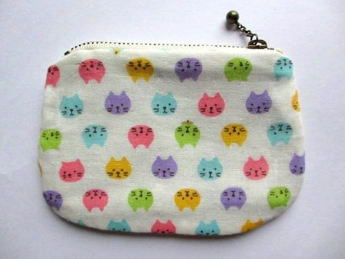 Double gauze mini pouch * colorful cat