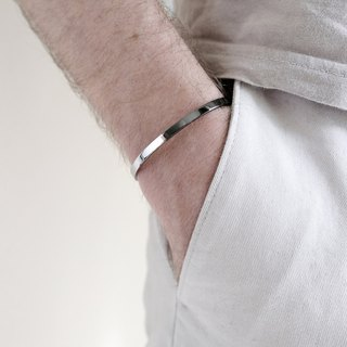 Two-Tone Minimal Cuff Bracelet | Polished Grey x Silver