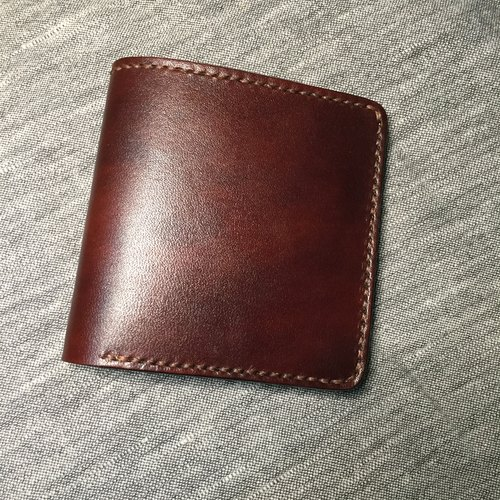 [Tea language] - vegetable tanned leather pure hand brush color leather brown short wallet