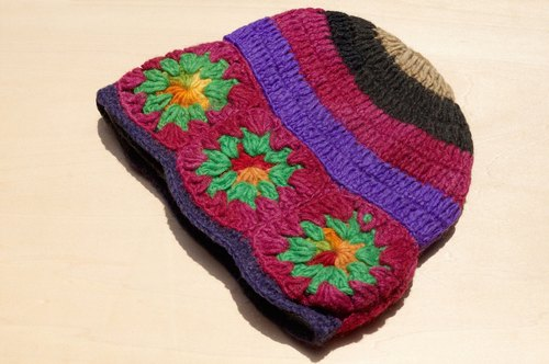 Valentine's Day gift a limited edition of hand-woven pure wool cap / knit hat / knitted caps / bristles hand-woven caps / wool cap - colorful spring flowers color