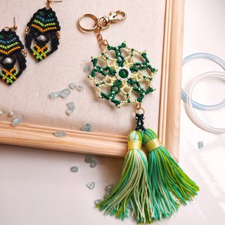 K014-Hand-woven jade-shaped charm green yellow tassel cat's eye stone reincarnation