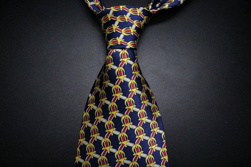 藍色抽象巴羅克暗紋真絲領帶/紳士百搭necktie