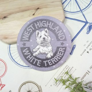 Customized (can add words)-LOGO~ Sketch West Highland White Terrier - Water Cup Coaster ~ Ceramic Coaster