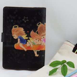 Hand made leather notebook / book cover - naughty angel