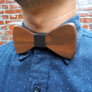 Natural Log Bow Tie - Walnut + Black Leather (Gift / Wedding / Newcomer / Official Occasion / Valentine's Day)