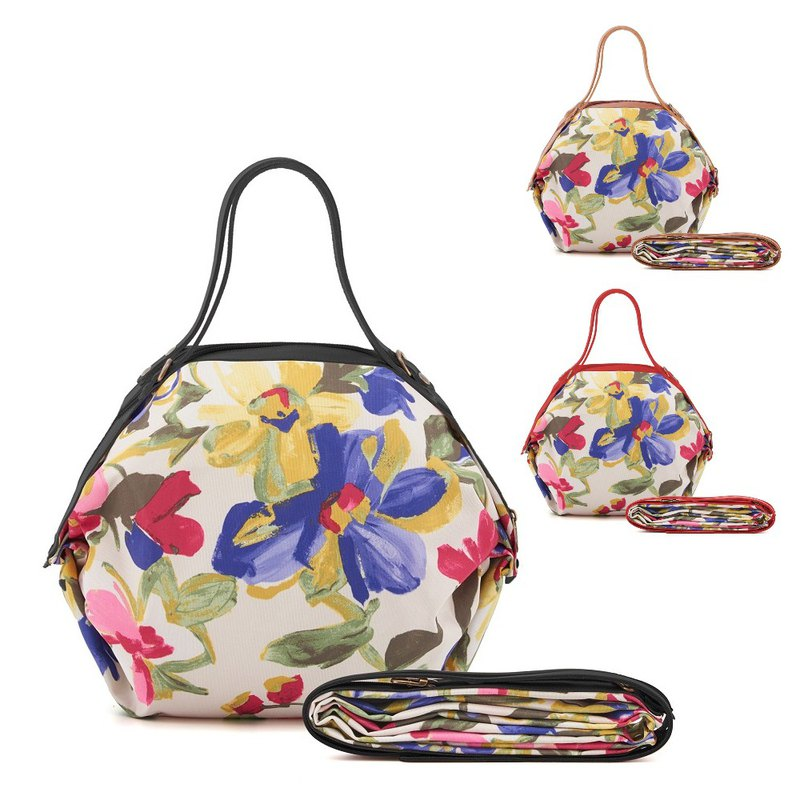 [POPCORN] Italy Air Folding Bag / Three-use Shoulder Bag / Watercolor Flower Red Pre Order