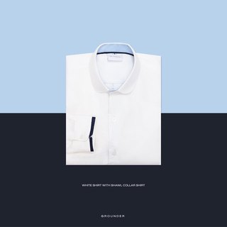 White shirt with shawl collar shirt