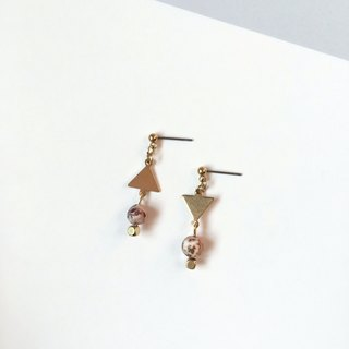 Brilliant ◆ [gravel series] Jupiter natural stone agate fog sand surface hourglass triangular brass earrings ear ear clip