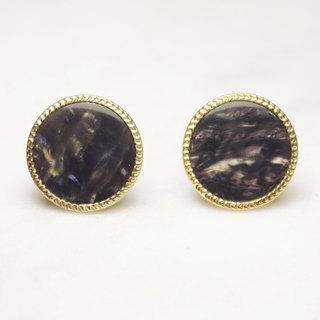 // Inlaid gold-rimmed vintage earrings with unique grain cloud gray // ve158