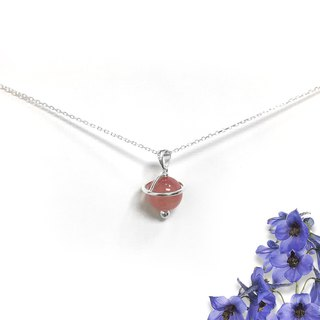 Strawberry Stone Necklace | Strawberry Universe Necklace | Quartz Necklace
