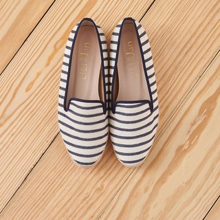 [Sea Holidays] Hemp rope rolling shoes - Navy striped blue