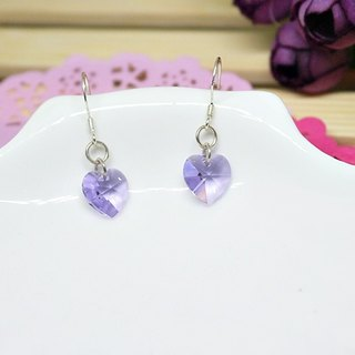 Silver earring * love * Purple - hook earrings
