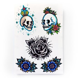 LAZY DUO Temporary Tattoo Sticker Old School Pop Color Skull Skelton Rose Black