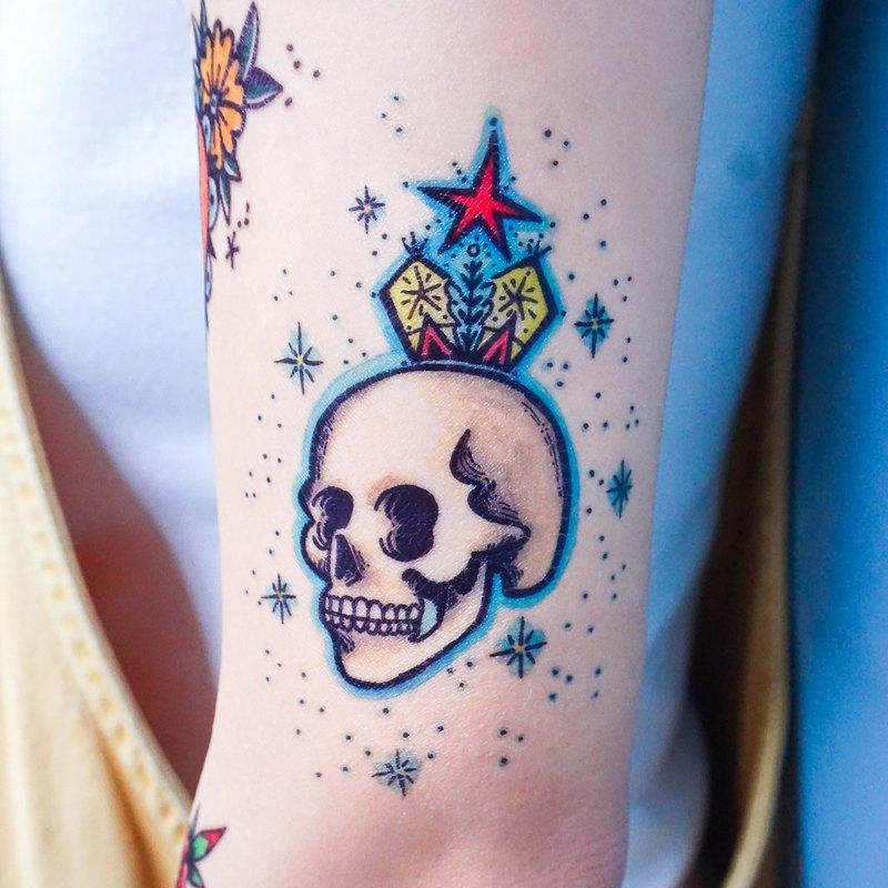 手繪復古歐美式刺青紋身貼紙骷髏骨王冠黑玫瑰藍玫瑰另類夏天動物