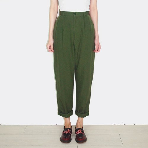Green vintage wool waist trousers AX1006