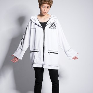 Dark mysterious symbol hooded thin coat white