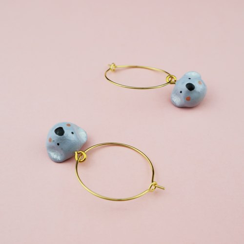 OMO  Original hand-painted  Koala 18K Gold Earrings
