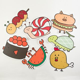 Waterproof Big Stickers - Animal Food Series