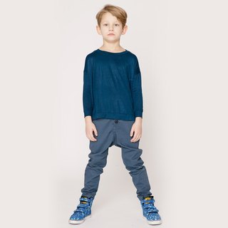 Nordic organic cotton children's casual pants ink blue