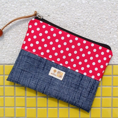Large dot denim pouch _ red / waterproof umbrella cloth