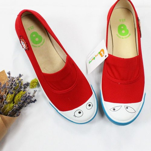 Classic simple slip-on with eyes for adults color Red (Patterned after)