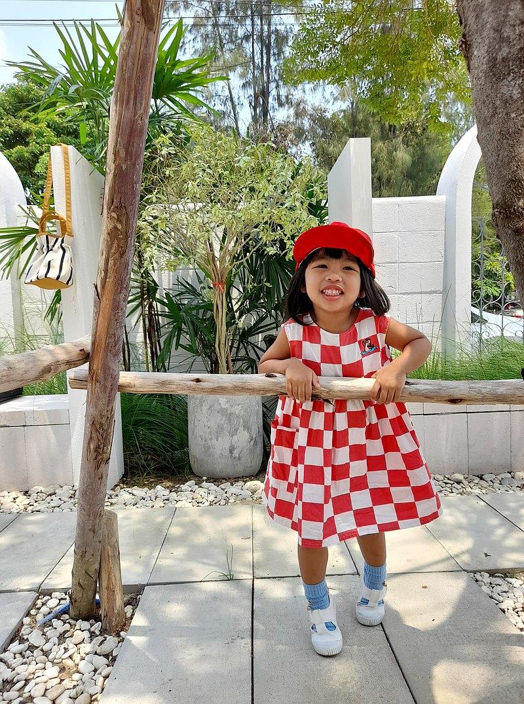 KiKi Otter紅色方格連衣裙,兩個口袋