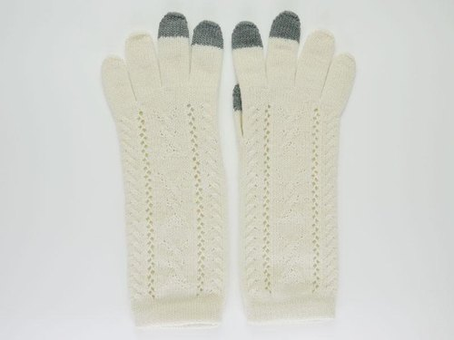 * Smartphones * Pippi handle three-dimensional long knit gloves [off-white]