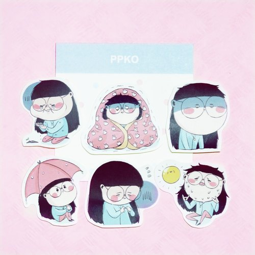 | Handmade stickers | PPKO daily # 02-E (a group of 6 in)