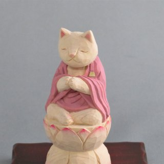 Wood carving cat, Cat to pray sitting in the lotus.