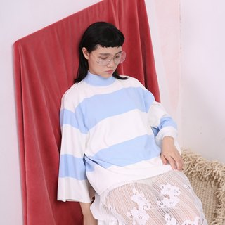 komorebi wood leakage Day original design small high collar nine points sleeve pullover Autumn wide stripes A type