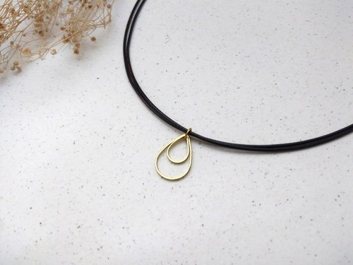 ♥ HY ♥ hand-made x necklace brass double-layer water droplets plain simple wax rope fine line