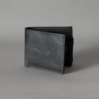 MEN SHORT WALLET WITH MINIMAL STYLE MADE OF SPECIAL TWO TONE WAXED LEATHER- BLACK/GREY