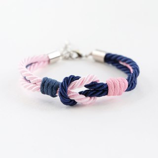 Navy blue / Pink knot rope bracelet with waxed cotton cord