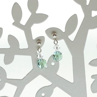 Green Swarovski crystals silver handmade earrings