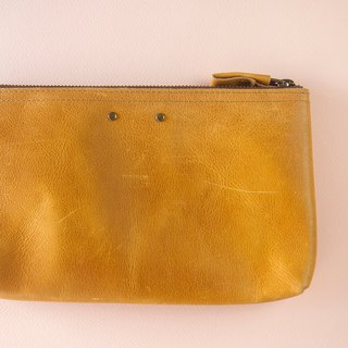 Colorful leather case, Leather pouch, Organizer case, Pencil case, Yellow