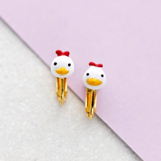 Chicken Earrings with Earclip