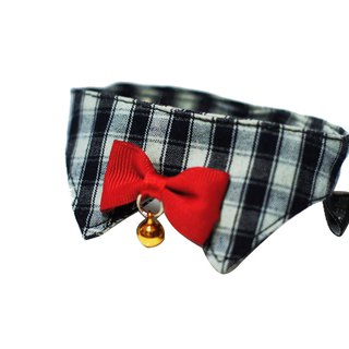 Pet cat collar / cat special baby button gray blue check