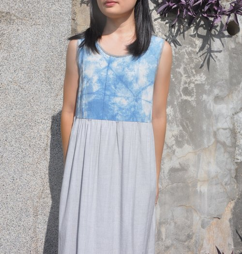 Blue dye dress (natural materials, hand-dyed, sapphire blue, indigo)