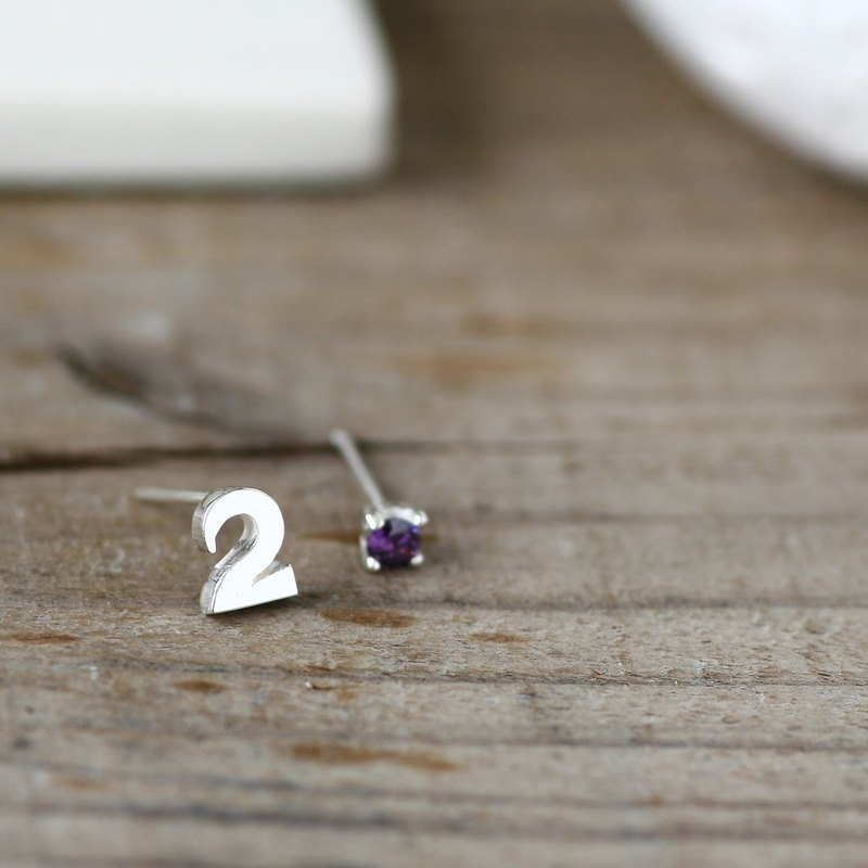 數字和二月生日石紫水晶耳针925銀