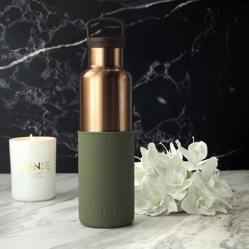 BRONZE GOLD- Seaweed Green | HYDY vacuum insulated thermal water bottle. Modern stylish urban design. Cincin deco- bronze seaweed green. Keep drinks cold for 24 hrs and hot for 12 hrs.