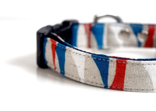 Cotton Linen Nautical marine Dog Collar - blue, red, white, beige Size Small