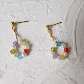 Bag 14K gold color donuts pearl gemstone earrings