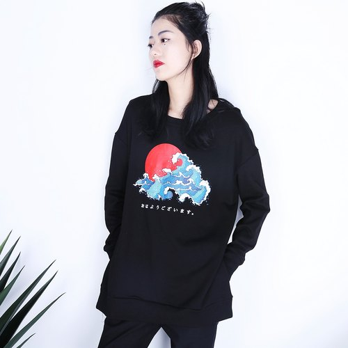 Shaoyaoju original design when sunrise and wind autumn and winter hedging round neck long-sleeved black female bf printing sweater