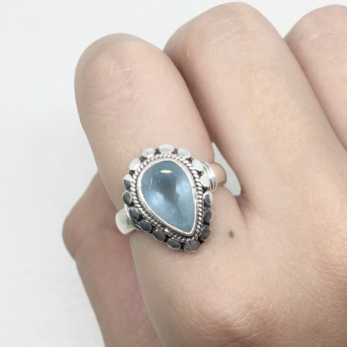 Seawater Sapphire 925 sterling silver water droplets elegant ring Nepal handmade mosaic production