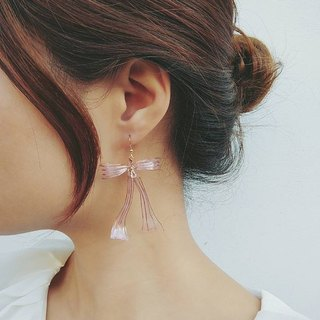 Paris actress three-dimensional bowknot earrings - rose gold