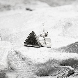 Black Cocnrete Triangle Earrings (Silver/Rose Gold) | Geometric Series
